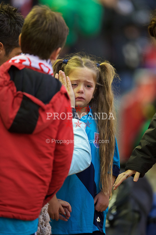 LIVERPOOL, ENGLAND - Saturday, November 29, 2014: Stoke City's unhappy mascot before the Premier League match against Liverpool at Anfield. (Pic by David Rawcliffe/Propaganda)
