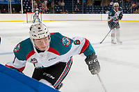 KELOWNA, CANADA - SEPTEMBER 2: defenseman Kaedan Korczak #6 of the Kelowna Rockets seats past the bench during second period on September 2, 2017 at Prospera Place in Kelowna, British Columbia, Canada.  (Photo by Marissa Baecker/Shoot the Breeze)  *** Local Caption ***