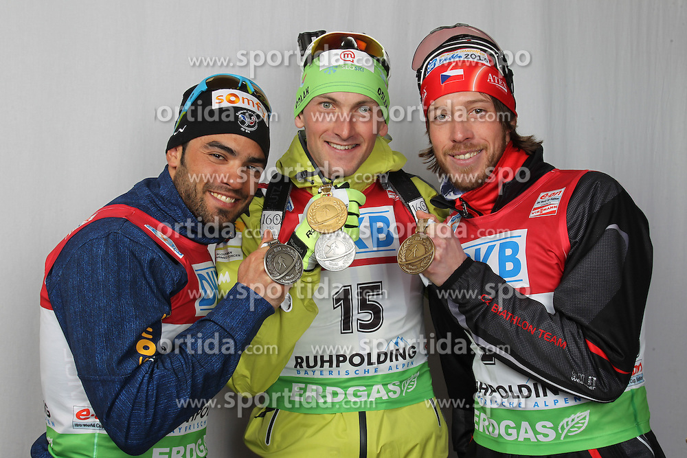 06/03/2012, Ruhpolding, Germany. Podium with Simon FOURCADE, Jakov FAK, Jaroslav SOUKUP at the IBU world championships biathlon, medals, Ruhpolding (GER) .© Manzoni / Pool / Teyssot / Sportida.