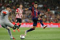 Barcelona´s Neymar Jr and Athletic de Bilbao´s goalkeeper Herrerin during 2014-15 Copa del Rey final match between Barcelona and Athletic de Bilbao at Camp Nou stadium in Barcelona, Spain. May 30, 2015. (ALTERPHOTOS/Victor Blanco)