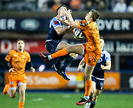 Will Talbot-Davies of Dragons and Josh Adams of Cardiff Blues vie for the high ball<br /> <br /> Photographer Simon King/Replay Images<br /> <br /> Guinness PRO14 Round 9 - Cardiff Blues v Dragons - Thursday 26th December 2019 - Cardiff Arms Park - Cardiff<br /> <br /> World Copyright © Replay Images . All rights reserved. info@replayimages.co.uk - http://replayimages.co.uk