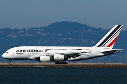Airbus A380-861 (F-HPJG) operated by Air France takes off from San Francisco International Airport (KSFO), San Francisco, California, United States of America