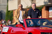 Aug 3, 2019; Canton, OH, USA; Johnny Robinson (left) and presenter Bob Thompson during the Pro Football Hall of Fame Grand Parade on Cleveland Ave. in Downtown Canton. (Robin Alam/Image of Sport)