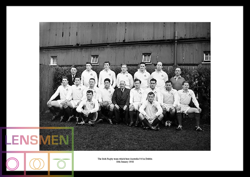 The Irish Rugby Team which beats Australia 9-6 in Dublin on 18th January 1958.<br />