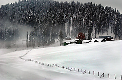 The picturesque skiing resort of Gulmarg in the Indian held state of Kashmir is virtually empty despite the perfect skiing conditions,  February 17, 2002.  Gulmarg has often been called the Switzerland of Asia with its faded elegance and top rated skiing conditions but because of the militant insurgancy, its proximity to Pakistan and the risk of being kidnapped, most foreign tourists stopped visiting  over ten years ago.  Gulmarg is only 15 kilometers from the Line of Control where India and Pakistan have amassed hundreds of thousands of troops poised to begin a fourth war as the tensions over Kashmir escalate.