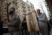 NEW YORK, NY 05 March 2018: Images from the prayer procession and Rosary to the Planned Parenthood Building in Soho, lower East Side of Manhattan. Beginning at St. Patrick's Old Cathedral on Mulberry St.