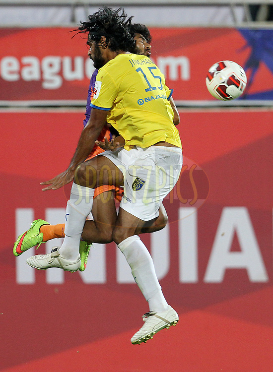 Ashutosh Mehta of FC Pune City and Sandesh Jhingan of Kerala Blasters FC collides during match 17 of the Hero Indian Super League between FC Pune City and Kerala Blasters FC held at the Shree Shiv Chhatrapati Sports Complex Stadium, Pune, India on the 30th October 2014.<br /> <br /> Photo by:  Vipin Pawar/ ISL/ SPORTZPICS