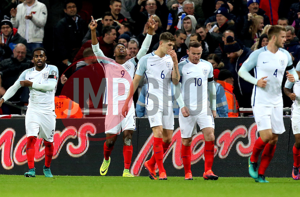 Daniel Sturridge of England celebrates scoring a goal to make it 1-0 - Mandatory by-line: Robbie Stephenson/JMP - 11/11/2016 - FOOTBALL - Wembley Stadium - London, United Kingdom - England v Scotland - European World Cup Qualifiers