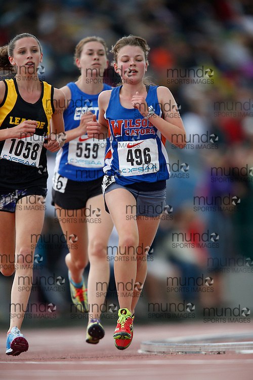 Hiley Dobbs of Donald A. Wilson SS - Whitby competes in the midget girls 3000m at the 2013 OFSAA Track and Field Championship in Oshawa Ontario, Saturday, June 8, 2013.<br /> Mundo Sport Images/ Geoff Robins