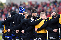 Charlie Ewels of Bath Rugby looks on in a pre-match huddle - Mandatory byline: Patrick Khachfe/JMP - 07966 386802 - 18/01/2020 - RUGBY UNION - Kingspan Stadium - Belfast, Northern Ireland - Ulster Rugby v Bath Rugby - Heineken Champions Cup