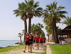 LARNACA, CYPRUS - Tuesday, March 6, 2018: Wales' Natasha Harding and Bethan Lloyd during a team walk around the Palm Beach Hotel & Bungalows in Larnaca on day eight of the Cyprus Cup tournament. (Pic by David Rawcliffe/Propaganda)