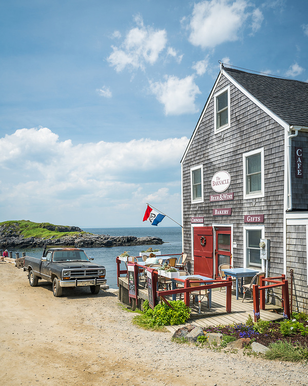 The Barnacle Cafe and Bakery greets folks getting off the ferry right at the Town Landing on Monhegan Island