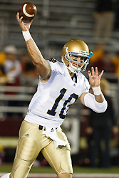 October 2, 2010; Chestnut Hill, MA, USA;  Notre Dame Fighting Irish quarterback Dayne Crist (10) warms up before the game against the Boston College Eagles at the Alumni Stadium.