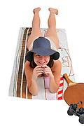 Woman sunbathes On white Background