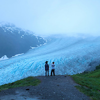 Blaze (L) and Zane Menendez from Orlando, Florida overlook the Harding Icefield at the Kenai Fjords National Park in Seward, Alaska, on Thursday, August 4, 2016. (Alex Menendez via AP)