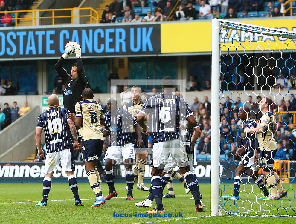 Picture by John Rainford/Focus Images Ltd +44 7506 538356<br /> 28/09/2013<br /> David Forde of Millwall claims a cross during the Sky Bet Championship match at The Den, London.