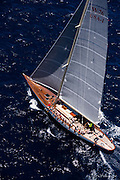 Wild Horses sailing in the Antigua Classic Yacht Regatta, Windward Race.