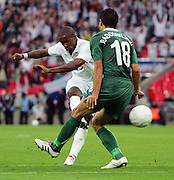 Jermain Defoe scores England's 2nd goal during the international friendly match between England and Slovenia at Wembley Stadium, London on the 5th September 2009