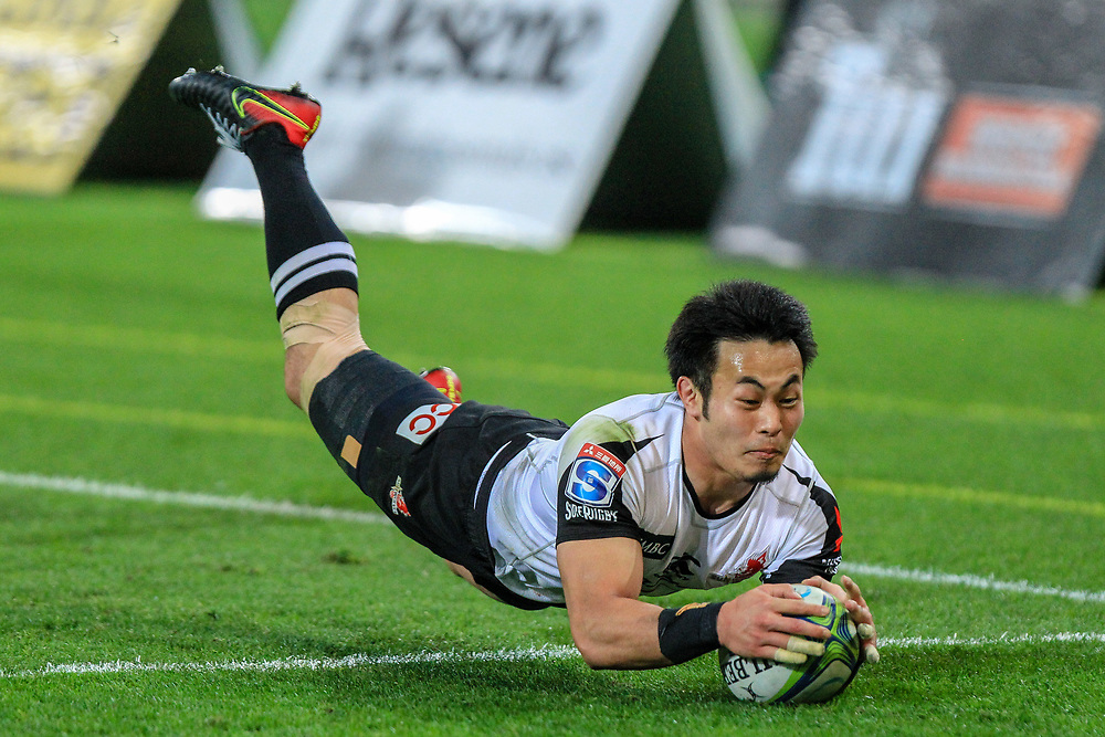 Kenki Fukuoka scores during the Super Rugby union game between Hurricanes and Sunwolves, played at Westpac Stadium, Wellington, New Zealand on 27 April 2018.   Hurricanes won 43-15.