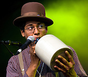 CAMBRIDGE, UK - AUGUST 01: Dom Flemons of Carolina Chocolate Drops performs on stage at Cambridge Folk Festival on August 1st, 2010 in Cambridge, United Kingdom. (Photo by Philip Ryalls/Redferns)**Dom Flemons