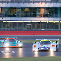 #3, Jaguar XJR16 (1991), Richard Eyre (GB), Group C followed by #14, Porsche 962 (1987), Tommy Dreelan (GB) and Aaron Scott (GB), Group C. 25.07.2015. Silverstone, England, U.K.  Silverstone Classic 2015.