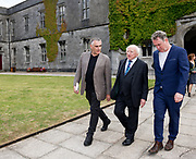 21/07/2018 repro free: President Michael D. Higgins  at the First Thought Talks strand at Galway International Arts Festival on Saturday July 21 in the Bailey Allen Hall in NUI Galway. The President launched this year&rsquo;s talks series with a reflection on the theme of home, which is the main theme of the talks. <br /> Afterwards he me with  GIAF  Artistic Director Paul Fahy and Chief Executive John Crumlish.<br /> The First Thought Talks programme at GIAF features a series of interviews, conversations and debate which will examine the theme of home, curated by historian and archivist Catriona Crowe. First Thought Talks 2018 features 18 talks from academics, activists, architects, reporters, poets and writers with 43 participants including President Michael D. Higgins, Catherine Corless, Andrew O&rsquo;Hagan, John Lanchester, Sarah Hickson, Liz Fekete, Roy Foster, Tomi Reichental, Mitchell Joachim, Paula Meehan, Lucy McDiarmid and Diarmuid Ferriter amongst an extensive number of leading international voices and journalists from around the world. For more see www.giaf.ie<br /> Pictures: Andrew Downes/Xposure