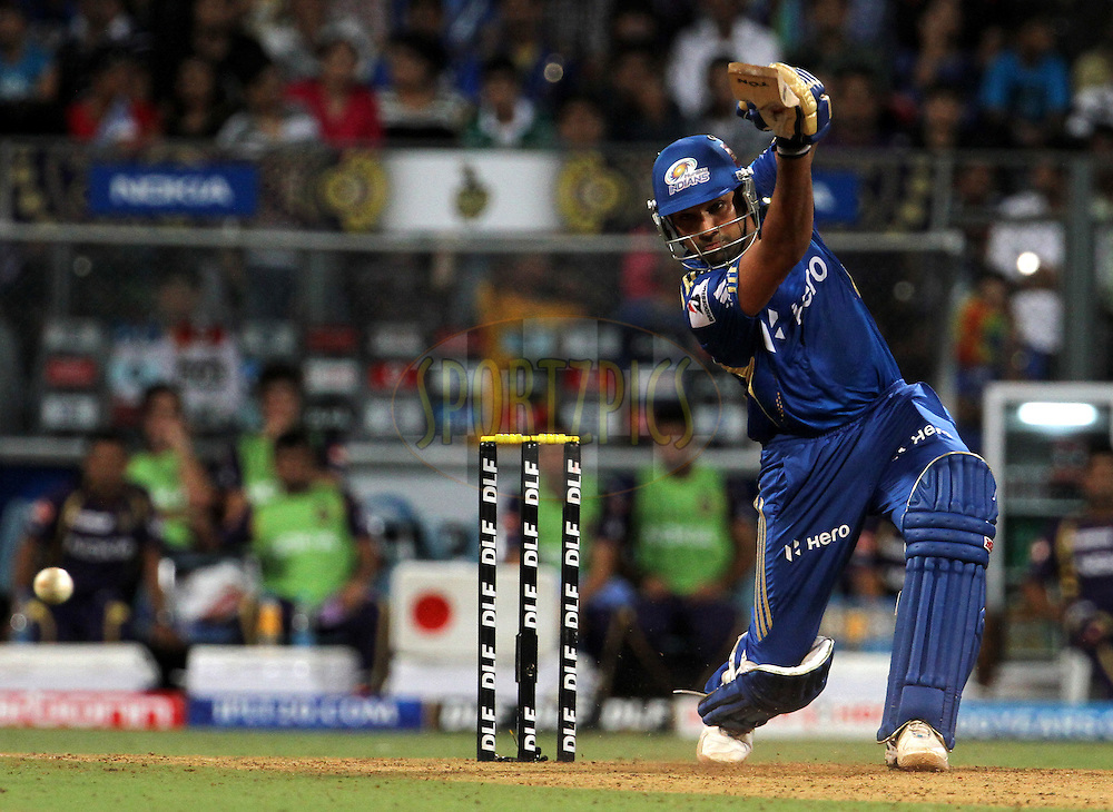 Mumbai Indian player Rohit Sharma plays a shot during match 65 of the Indian Premier League ( IPL) 2012  between The Mumbai Indians and the Kolkata Knight Riders held at the Wankhede Stadium in Mumbai on the 16th May 2012..Photo by Vipin Pawar/IPL/SPORTZPICS.