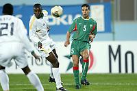 Fotball<br /> African Nations Cup 2004<br /> Afrika Mesterskapet<br /> Foto: Digitalsport<br /> Norway Only<br /> <br /> FIRST ROUND - GROUP D - 040204<br /> MOROCCO v SOUTH AFRICA<br /> MAROKKO v SØR AFRIKA<br /> <br /> TALAL EL KARKOURI (MOR) / AARON MOKOENA (RSA)