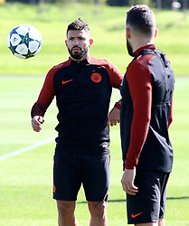 Sergio Aguero of Manchester City trains with Nicolas Otamendi - Mandatory by-line: Matt McNulty/JMP - 23/08/2016 - FOOTBALL - Manchester City - Training session ahead of Champions League qualifier against Steaua Bucharest
