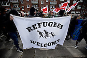 Hamburg | 01 May 2015<br /> <br /> 4000 protesters take part in the &quot;Never Mind The Papers&quot; rally for migrants and refugees in the german city of Hamburg. Picture shows a banner wich reads &quot;Refugees Welcome&quot;.<br /> <br /> &copy;peter-juelich.com<br /> <br /> [Foto honorarpflichtig | Fees Apply | No Model Release | No Property Release]