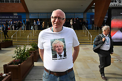 © Licensed to London News Pictures. 03/10/2017. Manchester, UK. A man wearing a Boris Johnson t-shirt at day three of the Conservative Party Conference. The four day event is expected to focus heavily on Brexit, with the British prime minister hoping to dampen rumours of a leadership challenge. Photo credit: Ben Cawthra/LNP