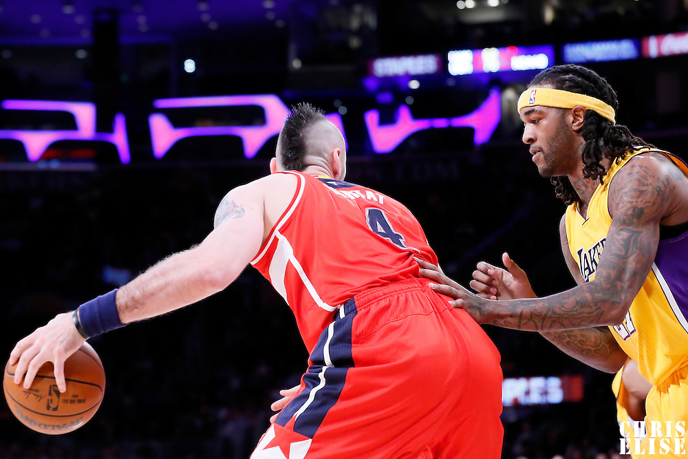 27 January 2015: Washington Wizards center Marcin Gortat (4) posts up Los Angeles Lakers center Jordan Hill (27) during the Washington Wizards 98-92 victory over the Los Angeles Lakers, at the Staples Center, Los Angeles, California, USA.
