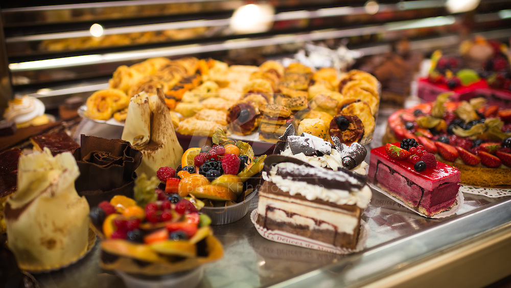 Pastries on display in Paris, France.