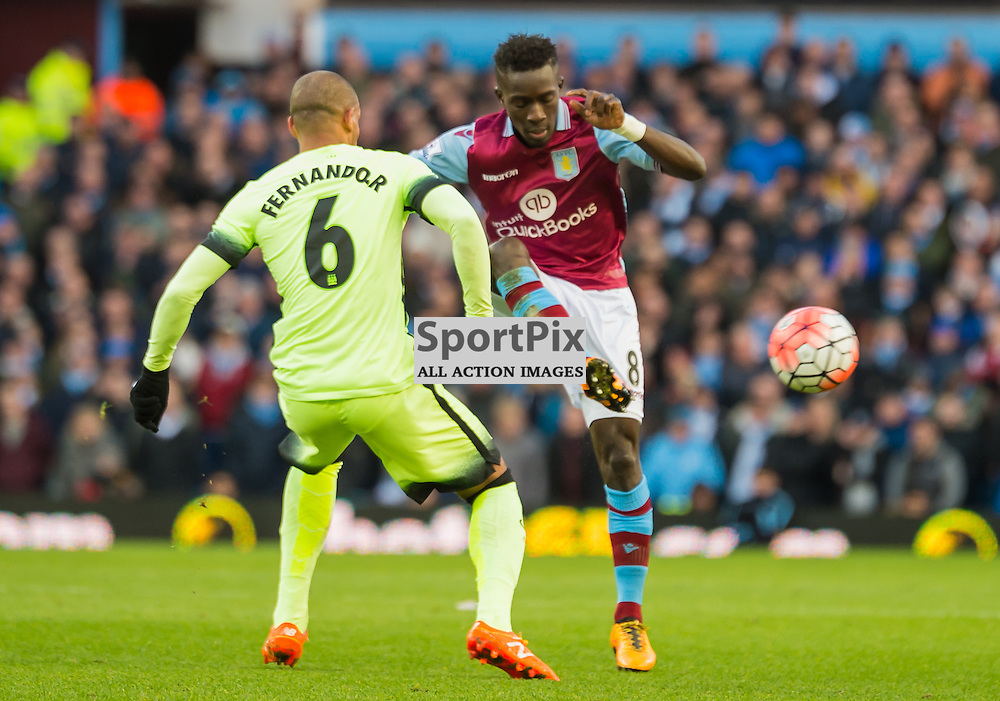 Aston Villa midfielder Idrissa Gueye (8) and Manchester City midfielder Fernando (6) challenge for a loose ball in the FA cup 4th Round game between Aston Villa and Manchester City<br /> <br /> (c) John Baguley | SportPix.org.uk