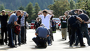 Oct 1, 2015 - Roseburg, Oregon, U.S. - <br /> <br /> Police search students outside Umpqua Community College following a deadly shooting at the college. As many as 10 people were killed and 20 injured when a shooter opened fire at Oregon's Umpqua Community College on Thursday<br /> ©Exclusivepix Media