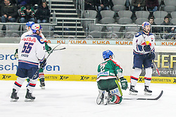 20.02.2015, Curt-Frenzel-Stadion, Augsburg, GER, DEL, Augsburger Panther vs EHC Red Bull München, 49. Runde, im Bild l-r: Torjubel von Tim Bender #55 (EHC Red Bull Muenchen), Daryl Boyle #6 (EHC Red Bull Muenchen), Brady Lamb #2 (Augsburger Panther) am Boden // during Germans DEL Icehockey League 49th round match between Adler Mannheim and Grizzly Adams Wolfsburg at the Curt-Frenzel-Stadion in Augsburg, Germany on 2015/02/20. EXPA Pictures © 2015, PhotoCredit: EXPA/ Eibner-Pressefoto/ Kolbert<br /> <br /> *****ATTENTION - OUT of GER*****