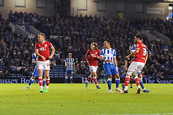 Derrick Williams of Bristol City scores to make it 1-0 - Mandatory byline: Dougie Allward/JMP - 07966 386802 - 20/10/2015 - FOOTBALL - American Express Community Stadium - Brighton, England - Brighton v Bristol City - Sky Bet Championship