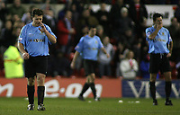 Photo: Paul Thomas.<br /> Nottingham Forest v Salisbury. The FA Cup. 12/12/2006.<br /> <br /> Dejected Matthew Holmes (L) and Salisbury players after Forest's Nathan Tyson scores to put Forest ahead.