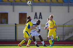 Tilen Klemencic of NK Domzale and Joaquim Manuel Welo Lupeta of NK Celje during football match between NK Domzale and NK Celje in Round #20 of Prva liga Telekom Slovenije 2017/18, on April 18, 2018 in Sports Park Domzale, Domzale, Slovenia. Photo by Urban Urbanc / Sportida