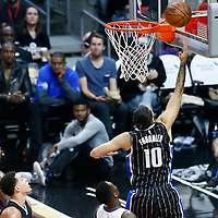 11 January 2017: Orlando Magic guard Evan Fournier (10) goes for the layup during the LA Clippers 105-96 victory over the Orlando Magic, at the Staples Center, Los Angeles, California, USA.