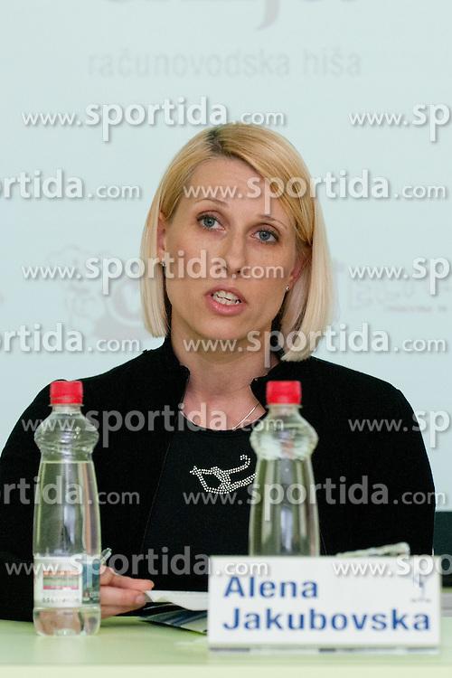 Alena Yakubovska at Press conference of 25th International tournament MTM Narodni dom, on April 3, 2012 at Unija racunovodska hisa d. d., Brezovica, Slovenia. (Photo By Matic Klansek Velej / Sportida.com)