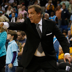 Mar 31, 2010; New Orleans, LA, USA; Washington Wizards head coach Flip Saunders reacts during the second half against the New Orleans Hornets at the New Orleans Arena. The Wizards defeated the Hornets 96-91. Mandatory Credit: Derick E. Hingle-US PRESSWIRE