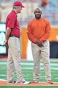 AUSTIN, TX - OCTOBER 18:  Iowa State Cyclones head coach Paul Rhoads and Texas Longhorns head coach Charlie Strong visit before kickoff on October 18, 2014 at Darrell K Royal-Texas Memorial Stadium in Austin, Texas.  (Photo by Cooper Neill/Getty Images) *** Local Caption *** Paul Rhoads; Charlie Strong