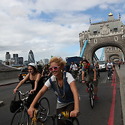 The swoop teams Brown and White cuts through the City on their way to swoop Climate Camp 2009. Tower Bridge.