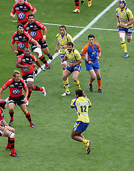Jonny Wilkinson of Toulon looks on as Wesley Fofana attacks during the French Top 14 Semi Final match between ASM Clermont Auvergne and RC Toulon at the Stade de Toulouse on June 3, 2012 in Toulouse, France.