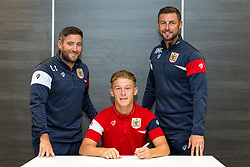 Bristol City Head Coach Lee Johnson and Assistant Head Coach Jamie McAllister look on as Jake Andrews signs a new contract with Bristol City Under 23s ahead of the 2017/18 Season - Rogan/JMP - 11/07/2017 - Ashton Gate Stadium - Bristol, England.