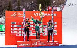 22.03.2019, Planica, Ratece, SLO, FIS Weltcup Ski Sprung, Skiflug, Einzelbewerb, Wertungssprung, Finale, Siegerehrung, im Bild 2. Platz Ryoyu Kobayashi (JPN), Sieger Markus Eisenbichler (GER), 3. Platz Piotr Zyla (POL) // 2nd placed Ryoyu Kobayashi of Japan Winner Markus Eisenbichler of Germany 3rd placed Piotr Zyla of Poland during the winner ceremony for the Ski Flying Hill individual competition of the FIS Ski Jumping World Cup Final 2019. Planica in Ratece, Slovenia on 2019/03/22. EXPA Pictures © 2019, PhotoCredit: EXPA/ JFK
