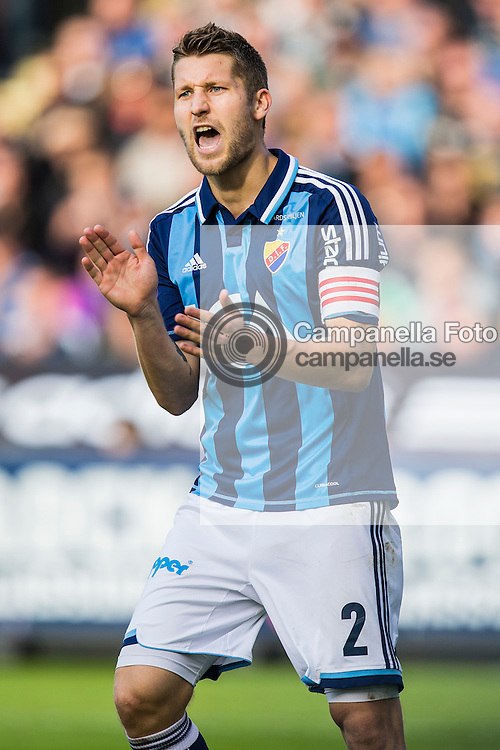 Solna 2012-09-16: <br /> <br /> Djurg&aring;rden 2 Joona Toivio encourages his teammates durring a derby match against AIK in Solna, Sweden<br /> <br /> (Photo: Michael Campanella / Pic-Agency)