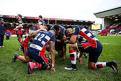 Bristol Rugby's pacific island contingent take Bath Rugby knee to give thanks after Bristol Rugby win 12-11 - Rogan Thomson/JMP - 26/02/2017 - RUGBY UNION - Ashton Gate Stadium - Bristol, England - Bristol Rugby v Bath - Aviva Premiership.