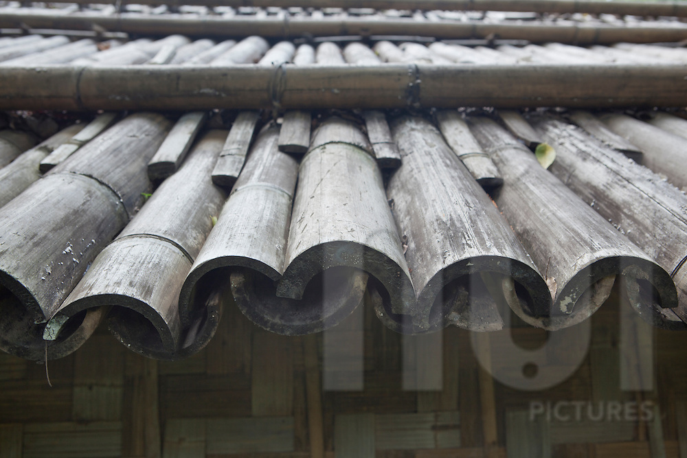 Bamboo roof structure of a tradtional Dao ethnic house. Ethnology museum, Hanoi, Vietnam, Asia